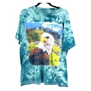 Vintage eagle tie dye green boho t shirt 90s large